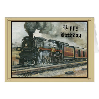 Tarjeta de cumpleaños con el tren
