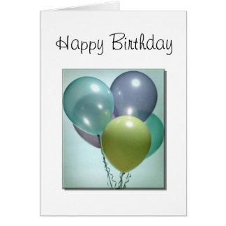 Tarjeta de cumpleaños con los globos