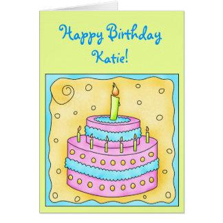 Tarjeta de cumpleaños con rosa y la torta de la tu