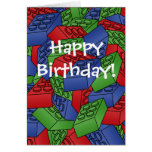 Tarjeta de cumpleaños con una pila de bloques huec