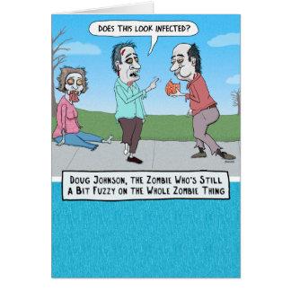 Tarjeta de cumpleaños confusa divertida del zombi