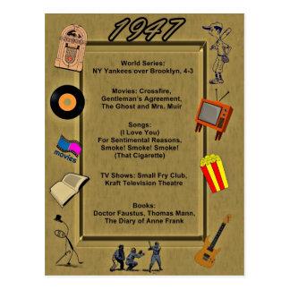 Tarjeta de cumpleaños de 1947 gran acontecimientos tarjeta postal