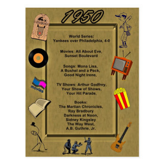 Tarjeta de cumpleaños de 1950 gran acontecimientos tarjeta postal