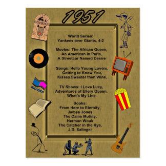 Tarjeta de cumpleaños de 1951 gran acontecimientos tarjeta postal