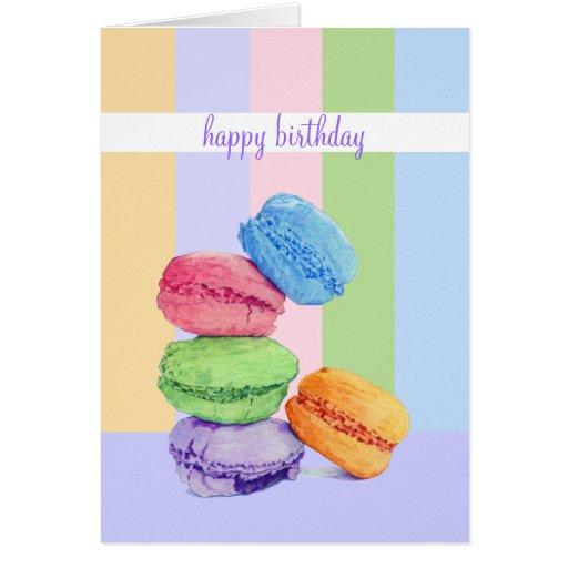 Tarjeta de cumpleaños de 5 rayas de Macarons