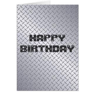 Tarjeta de cumpleaños de acero brillante de