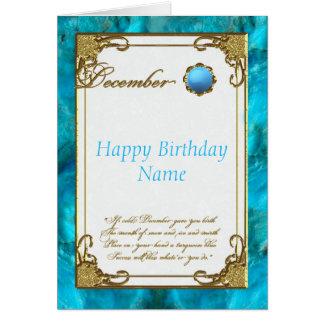 Tarjeta de cumpleaños de Birthstone de la turquesa