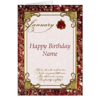 Tarjeta de cumpleaños de Birthstone del granate de