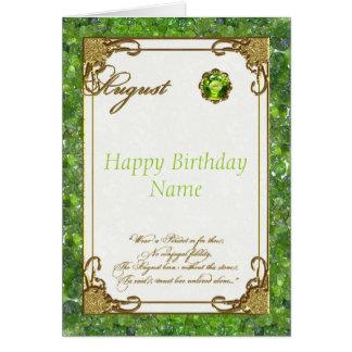 Tarjeta de cumpleaños de Birthstone del Peridot de