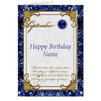 Tarjeta de cumpleaños de Birthstone del zafiro de