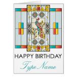 Tarjeta de cumpleaños de Brights del vitral del Ma