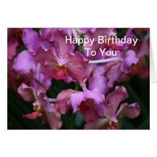 Tarjeta de cumpleaños de color de malva de la orqu