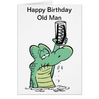 Tarjeta de cumpleaños de Croc del viejo hombre