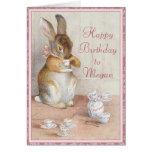 Tarjeta de cumpleaños de encargo del conejo de con