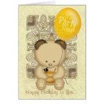 Tarjeta de cumpleaños de encargo del oso de miel