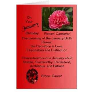 Tarjeta de cumpleaños de enero - clavel y granate