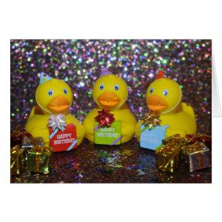 Tarjeta de cumpleaños de goma del duckie