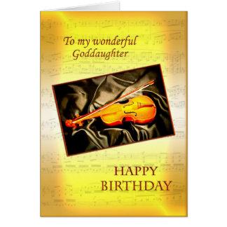 Tarjeta de cumpleaños de la ahijada con un violín