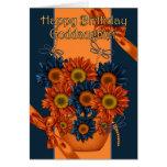 Tarjeta de cumpleaños de la ahijada - girasol y Dr