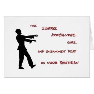 Tarjeta de cumpleaños de la apocalipsis del zombi