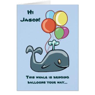 Tarjeta de cumpleaños de la ballena y del niño de
