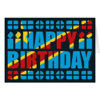 Tarjeta de cumpleaños de la bandera de Congo-Kinsh