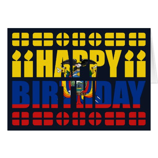 Tarjeta de cumpleaños de la bandera de Ecuador