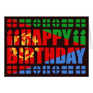 Tarjeta de cumpleaños de la bandera de Eritrea