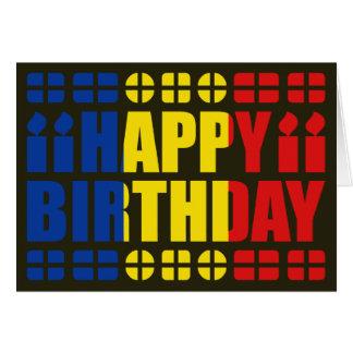 Tarjeta de cumpleaños de la bandera de Rumania