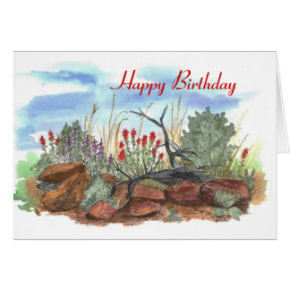 Tarjeta de cumpleaños de la brocha india del desie
