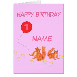 Tarjeta de cumpleaños de la edad y del nombre del