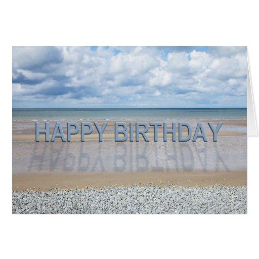 Tarjeta de cumpleaños de la escena de la playa con