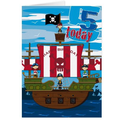 Tarjeta de cumpleaños de la escena del barco pirat