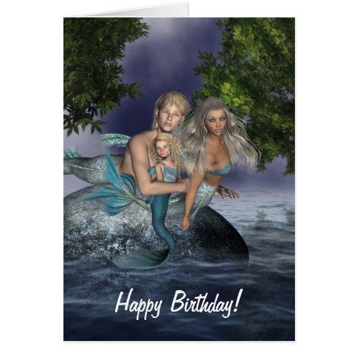 Tarjeta de cumpleaños de la familia de la sirena