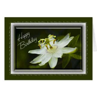 Tarjeta de cumpleaños de la flor de la pasión