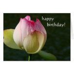 Tarjeta de cumpleaños de la flor de Lotus de la ch