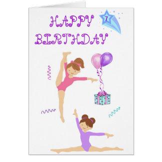 Tarjeta de cumpleaños de la gimnasia personalizada