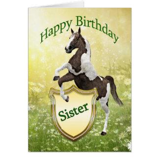 Tarjeta de cumpleaños de la hermana con un caballo