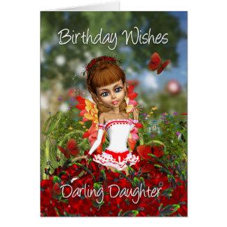 Tarjeta de cumpleaños de la hija con la hada del p