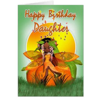 Tarjeta de cumpleaños de la hija - hada de la frut