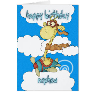 Tarjeta de cumpleaños de la jirafa del avión/del a