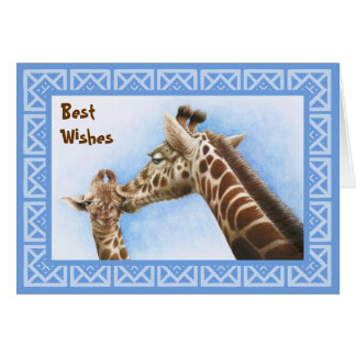 Tarjeta de cumpleaños de la jirafa y del becerro