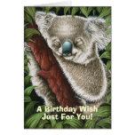 Tarjeta de cumpleaños de la koala el dormir