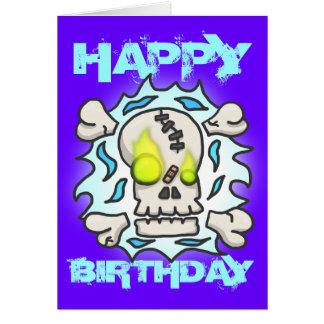 Tarjeta de cumpleaños de la llama del cráneo