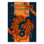 Tarjeta de cumpleaños de la madrina - girasol y li