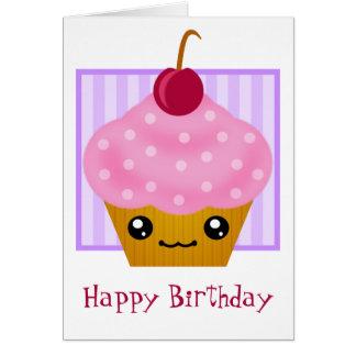 Tarjeta de cumpleaños de la magdalena de Kawaii