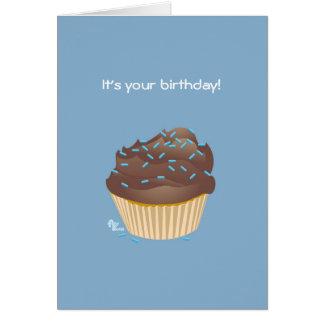Tarjeta de cumpleaños de la magdalena del chocolat