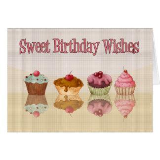 Tarjeta de cumpleaños de la magdalena - deseos dul