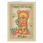 Tarjeta de cumpleaños de la mamá con un manojo de