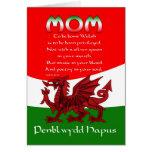 Tarjeta de cumpleaños de la mamá Galés - poema de